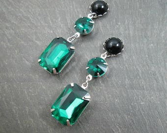 Dangle Plugs - 10g - 8g - 6g - 4g - 2g - 0g - Wedding Gauges - Emerald Green Plugs - Plug Earrings for Stretched Ears