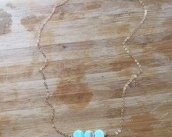 Blue Opal Necklace - Natural Blue Peruvian Opal stone - 14k gold filled jewelry - Sterling Silver - Birthday - Bridesmaids -  Gift for her