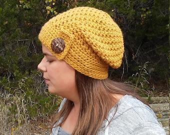 Mustard Slouchy Beanie, Womens Slouchy Hat, Slouchy Beanie, Womens Slouchy Hat, Slouchy Winter Hat, Slouch Hat, Crochet Slouchy Hat