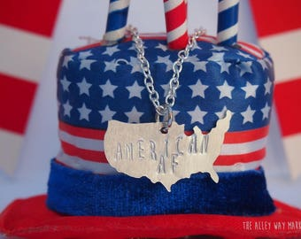 4th July, 4th of July,American AF Necklace, patriotic necklace, patriotic jewelry USA Map Necklace, Fourth of July Necklace, festive jewelry