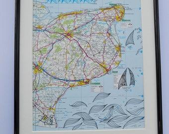Map artwork- Kent, United Kingdom, Great Britain- Original Zentangle inspired drawing.