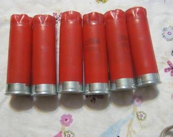 Six 6 Spent Silver 12 Gauge Shot Gun Bullet Shells Empty  for Jewelry, crafts, Art