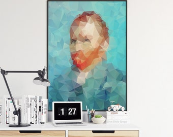 SELF PORTRAIT 1889 - VINCENT - Posters, prints Modern polygonal decor - Vincent Van Gogh. Wall art printable