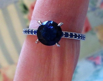 RING - SAPPHIRE - Many small side stones - Sterling Silver - size 9  Blue 485