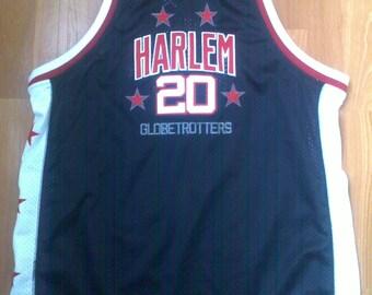 Platinum Fubu jersey, Harlem Globetrotters, vintage Marques Haynes t-shirt 90s hip-hop clothing, 1990s hip hop, OG, gangsta rap, size XL