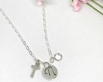 Simple Cross Initial Necklace - Hand Stamped Religious Jewelry - Confirmation Gift Ideas - First  Communion - Personalized - Crosses