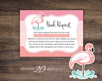 Instant Download Flamingo Book Request, Pink Flamingo Book in Lieu of Card, Pink Coral Ombre Baby Shower Book Instead of Card 91A