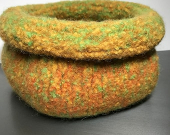 Felted Bowl - Medium - Functional Art Pod - 'Candy Corn'