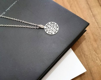 Small Flower of Life Layering Necklace, Short Necklace, Silver Layering Necklace, Rose Gold Necklace, Gold Vermeil Necklace, Gift for Her