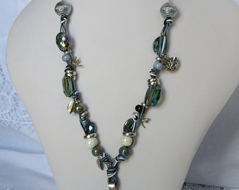 LADY of the LAKE Nimue Merlin Iridescent Blue Dragonfly Silver Necklace