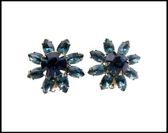 Montana Bue Rhinestone Earrings, London Blue Topaz Rhinestone Flowers, Blue Ear Climbers, Blue Bridesmaid Earrings, Gift For Her