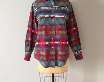 ethnic denim shirt | triangles ornament | aztec ornament shirt
