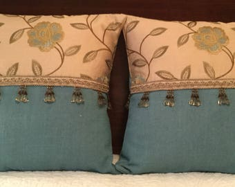 Elegant Decorative Pillow Cover, Crystal Beaded Trim, Embroidered Silk Pillow Cover