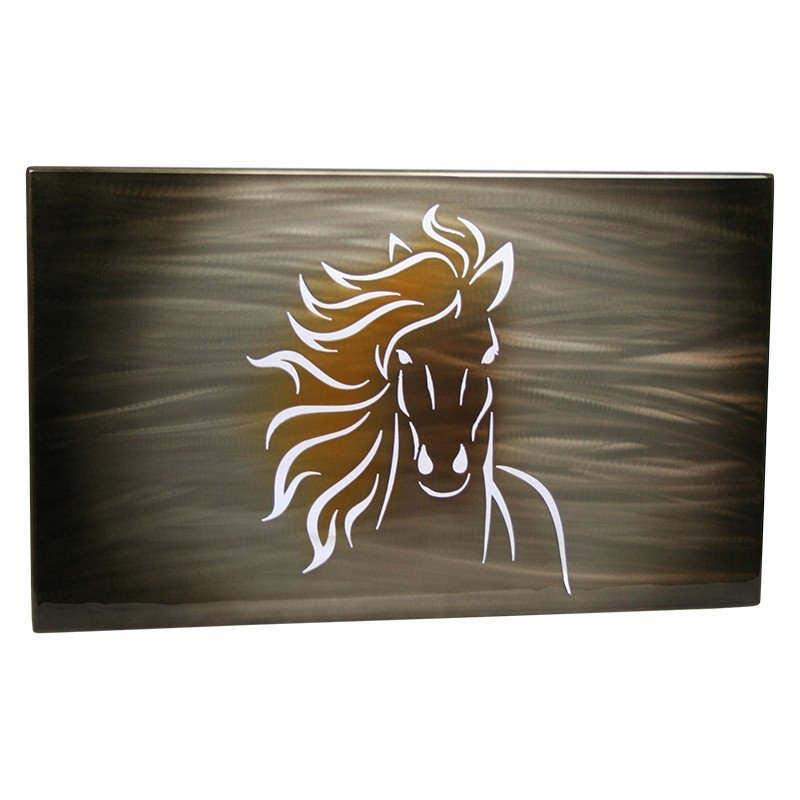 Best Horse Painting, Aluminum Art Panel, lighted wall decor, modern  BK08