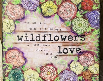 Wildflowers Mixed Media Art Print on Wood