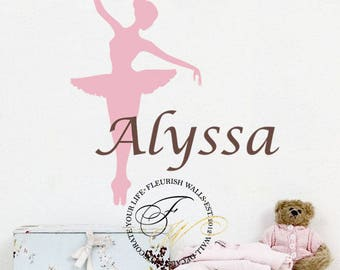 Ballerina Wall Decal - Personalized Dance Theme Nursery Name Decal For Baby Girl Or Teen Girls Room Vinyl Wall Art GN035