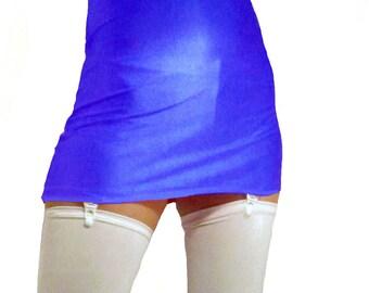 High waisted royal blue shiny spandex mini skirt black suspenders