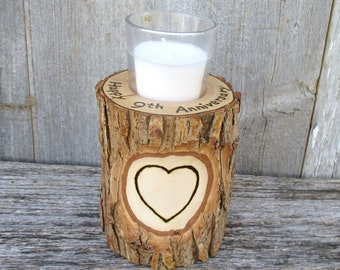 9th Anniversary Candle of Rustic Willow Wood Inscribed with Your Names in a Heart Smaller Version