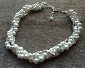 White Pearl Necklace Bridal Necklace Four Strand Twisted Clusters with Silver or Gold Chain
