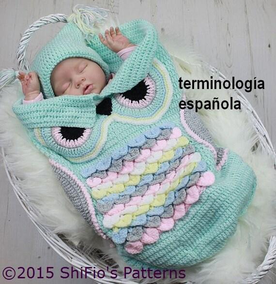 Patrón ganchillo para capullo búho & sombrero del bebé U.K