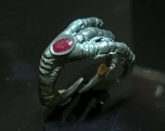 Silver ring Crow paw Natural ruby Claw ring