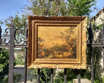 French vintage licensed reproduction oil painting of country side landscape, in lovely gilt frame, Cignaroli in 18th century Italian style.
