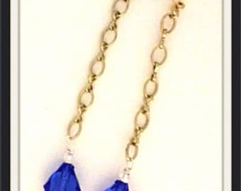 Handmade MWL ling dangle blue earrings. 0063
