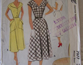 McCall Vintage Womens Sewing Pattern 7977 from 1950 Size 16 Bust 34
