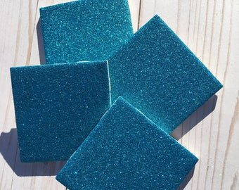 Glitter Coasters ~ Turquoise Coasters ~ Ceramic Tile Coasters ~ Aqua Coasters ~ Sparkly Decor ~ Girly Decor ~ Girls Room ~ Drink Coasters