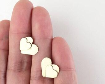 Double heart stud earrings - Brass stud heart earrings - golden hearts earrings - valentine heart earrings