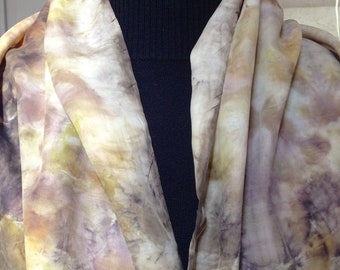 98 vegetable dye silk scarf, contact dyeing, ecoprinted scarf