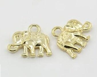 Elephant style pendant charms 6 colour Tibetan gold 3D
