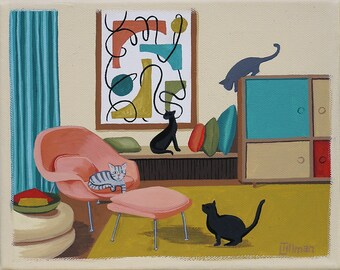 Mid Century Modern Eames Retro Limited Edition Print from Original Painting Cats Room Interior