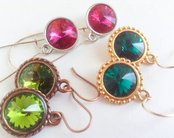 Emerald Olive Green Pink Dangling Drop Copper Silver Gold Swarovski Crystal Earring--Sparkling Jewels Earring Collecton-- by Lady Grey Beads