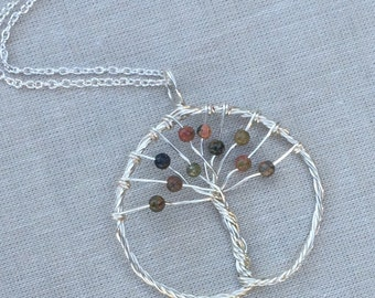 Silver Tree of Life Necklace featuring Green Unakite