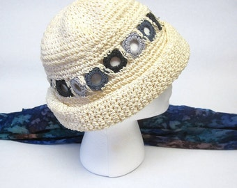 White Crocheted Hat Rolled Brim