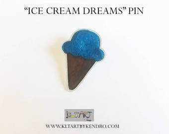Ice Cream Dreams Handmade Pin / Ice Cream Brooch / Blueberry Ice Cream Jewelry / Choclate / Kawaii Dessert Brooch