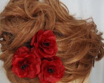 Wedding Hair Flowers, Red Black Roses, Set of 3, Mini Hair Flowers,Wedding Accessories, REX15-346
