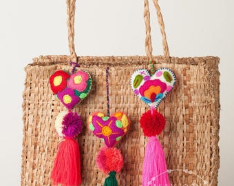 Mexican Felt Hearts / Hand Embroidered hearts with pom-poms / heart pompom tassel charm / wedding favors / baby shower