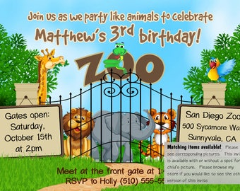 DIGITAL zoo invite, zoo invitation, zoo birthday invite, zoo birthday invitation, animal invitation, animal invite, zoo party, jungle invite