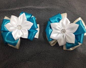 school bows made of satin ribbons