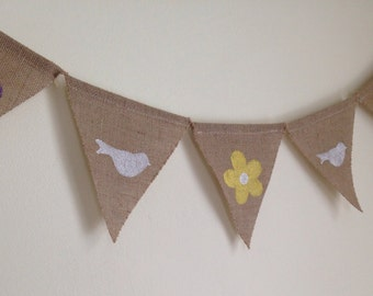 Spring Burlap Banner-Birds and Flowers Banner-Free Shipping!