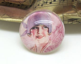 2 cabochons 20 mm glass face Retro woman purple and pink - 20 mm