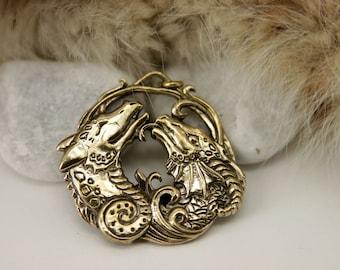 Two Dragons Heart Couple Love bronze pendant necklace