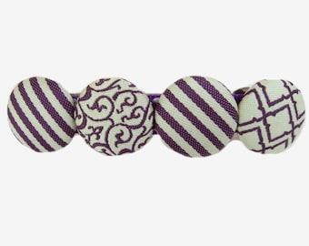 Button Hair Barrette, Adult Hair Clip, Stripes, French Barrette, Purple Barrette, Hair Clip for Women, Thick Hair Barrette
