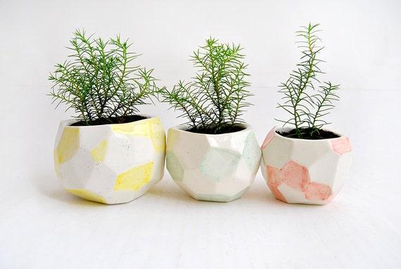 Set Of Three Faceted Ceramic Planters Ceramic Pots Decorated