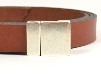 15mm Petite Magnetic Flat Leather Clasps - Antique Silver - 15F-CL2647 - Choose Your Quantity