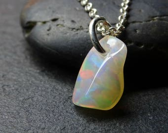 Welo opal pendant etsy small opal charm pendant honeycomb welo opal necklace silver welo opal pendant silver mozeypictures Gallery