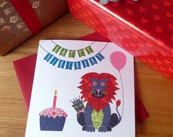 Collage-imlas Children's Birthday Card (Lions)
