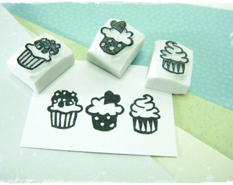 Cute Cupcake Set of 3 - Hand Carved Stamp